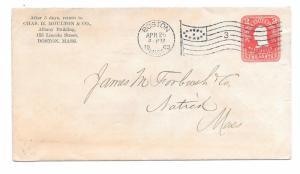 $ US Shoe Cover, Boston, Mass, 4/25/1903, Chas. H. Moulton & Co.