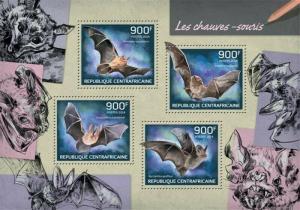 Central Africa - 2014 Bats on Stamps - 4 Stamp Sheet - 3H-711