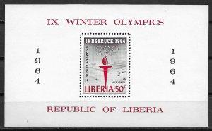 1964 Liberia C159 IX Winter Olympics MNH S/S