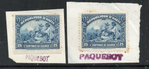 Haiti: 1930s 25c. on piece (2) with Paquebot marks