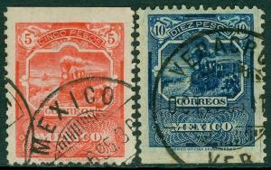 EDW1949SELL : MEXICO 1895 Sc #255-56 High Values VF Used. Neat cancels. Cat $540