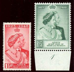 Aden - Qu'aiti 1949 KGVI Silver Wedding set complete MNH. SG 14-15. Sc 14-15.