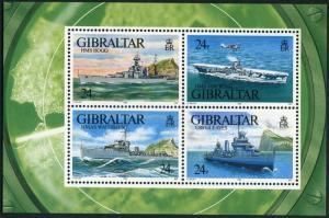 Gibraltar 630,MNH.Michel Bl.18. WW II Warships:HMS Hood,Ark Royal,USS Gleaves,