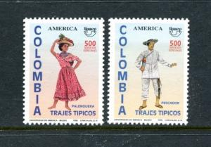Colombia 1129-1130, MNH, America issue Postman Day 1996. x23465