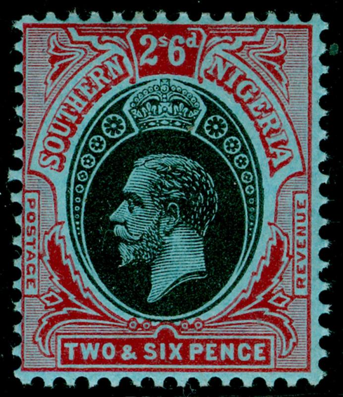 SOUTHERN NIGERIA SG53, 2s 6d black & red/blue, VLH MINT.