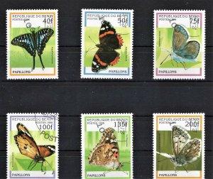 Benin Used set Of 6 Butterflies 1996