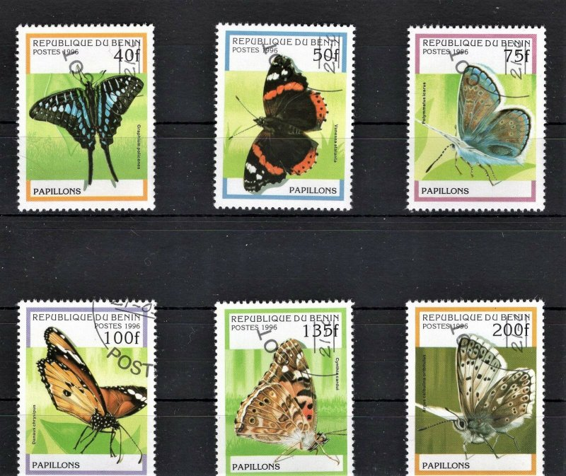 Benin Used set Of 6 Butterflies 1996