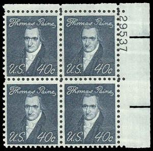 PCBstamps     US #1292 PB $1.60(4x40c)Thomas Paine, MNH, (PB-2)