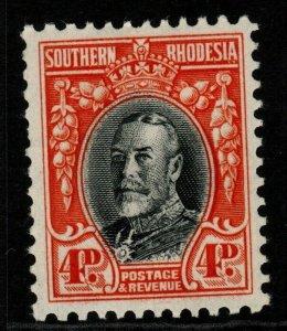 SOUTHERN RHODESIA SG19a 1935 4d BLACK & VERMILION p11½ MTD MINT
