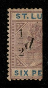 ST.LUCIA SG54e 1891 ½d on HALF 6d THICK 1 WITH SLOPING SERIF MTD MINT