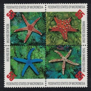 Micronesia Starfish 4v Block of 4 SG#490-493