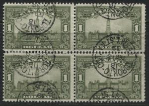 Canada KGV 1929 $1 Parliament block of 4 CDS used
