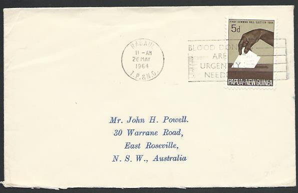 PAPUA NEW GUINEA 1964 cover Rabaul BLOOD DONORS slogan cancel..............25689