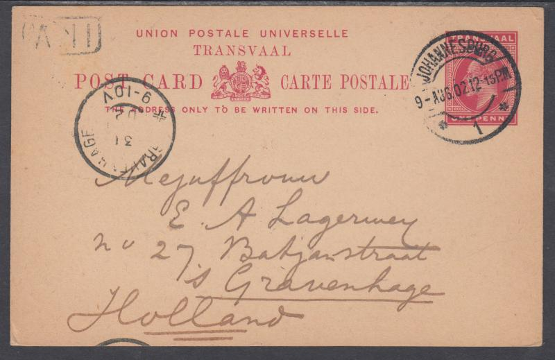 Transvaal H&G 12 used 1902 1p Postal Card, Johannesburg to Gravenhage, Holland