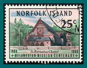 Norfolk Island 1966 Melanesian Mission, 25c used #98,SG75