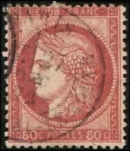 France SC# 63b Ceres 80c used SCV Carmine Rose $15.00