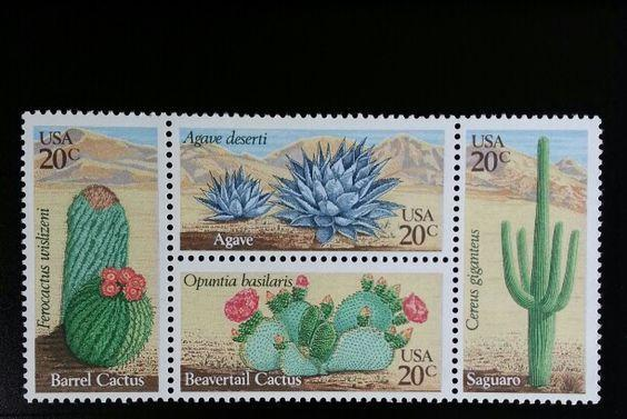 1981 20c Desert Plants, Block of 4 Scott 1942-45 Mint F/VF NH