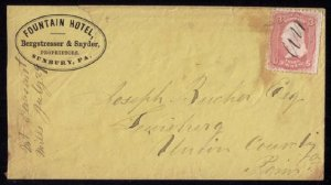 US Scott #64 Postal Cover Sunbury PA Fountain Hotel Cachet to Lewisburg PA