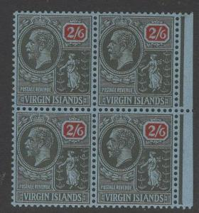 VIRGIN ISLANDS SG100 1928 2/6 BLACK & RED/BLUE MNH BLOCK OF 4
