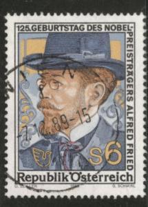 Austria Osterreich Scott 1478 used Alfred Fried stamp 1989
