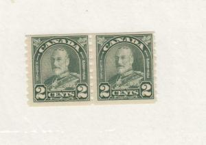 CANADA (MK34) # 180 VF-MNH  2cts  KGV ARCH/LEAF COIL PAIR/DULL GREEN CAT VAL $32