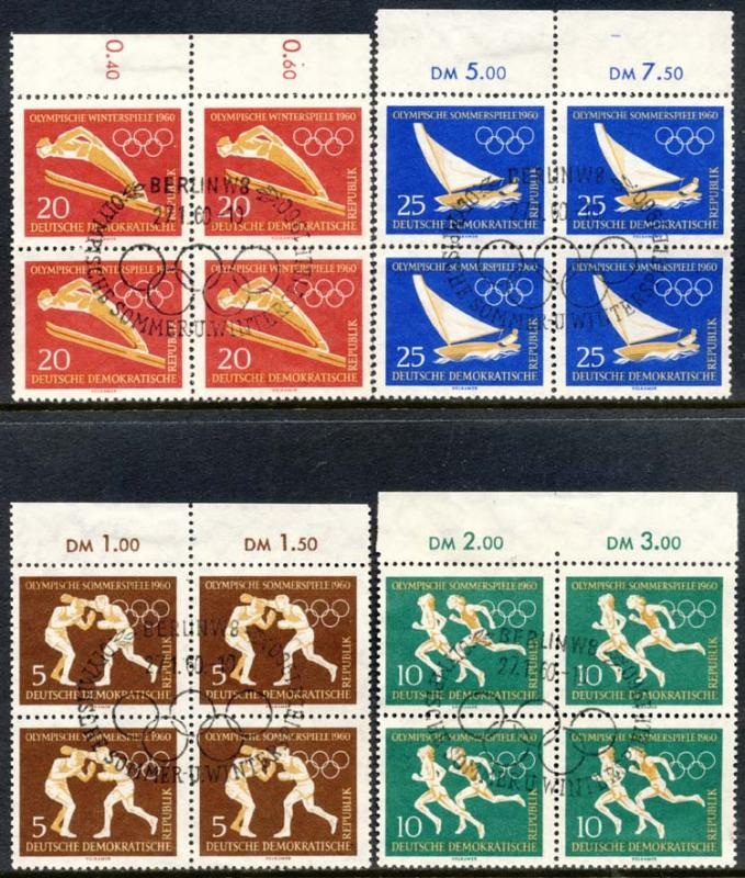 Germany DDR 1960 Sc 488-91 Summer Winter Games FDCL Stamp HR