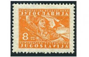 Yugoslavia 214,hinged.Michel 481. Partisan girl and flag,1947.