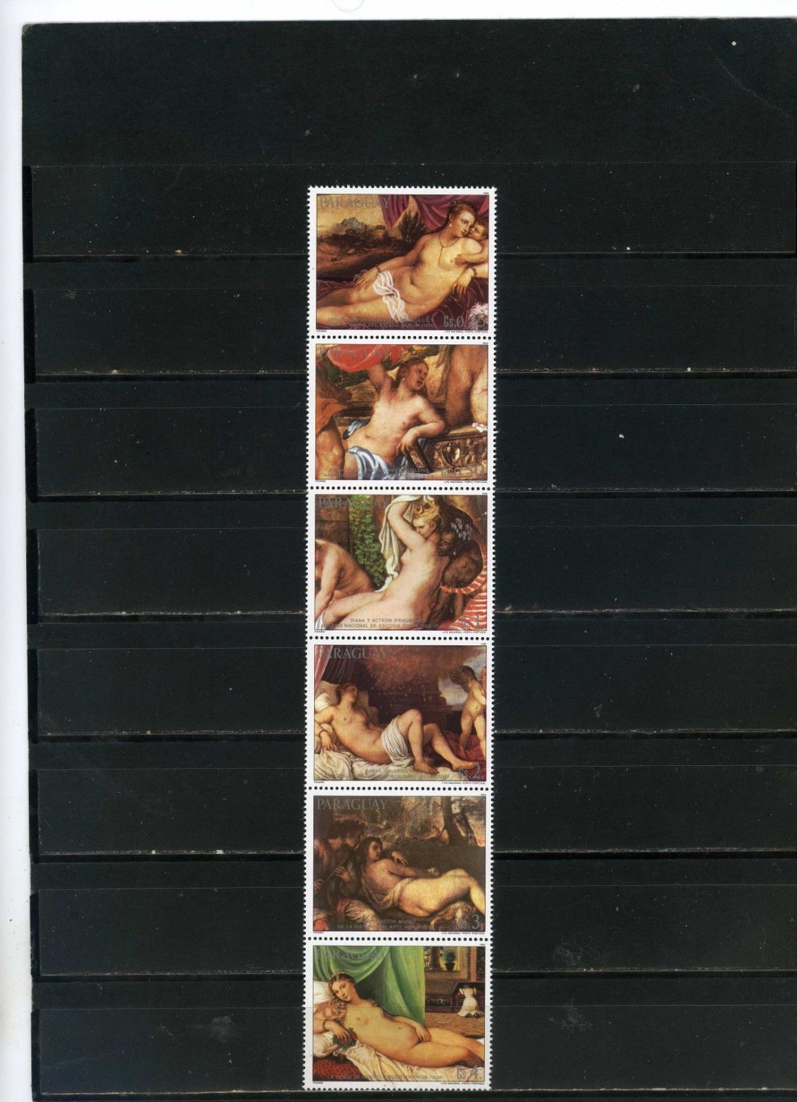 PARAGUAY 1986 Sc#2162 PAINTINGS BY TITIAN/NUDES STRIP OF 6