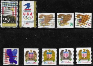 US #2534,39,2595-98,2602-04,3270.  Used Eagles, mostly from 1991.  Nice.