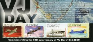 St Vincent & Grenadines 2005 MNH WW2 WWII VJ Day 4v M/S Ships Aviation Stamps