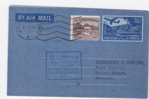 Pakistan 1965  Lufthansa Karachi aerogramme to Australia   ref R20024