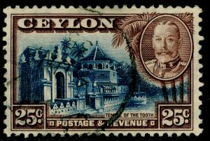 CEYLON SG375, 25c deep blue & chocolate, FINE used.