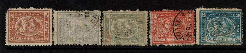 Egypt 5 1872-1875 Used/Mint No Gum Stamps, see notes - S4089