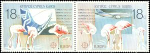Cyprus #702a, 704a, Complete Set(4), Pairs, 1988, Europa, Telephones, Birds, ...