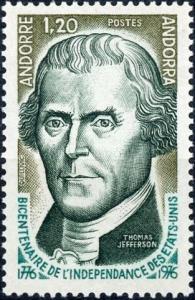 Andorra - French Admin. #248 1.20fr Thomas Jefferson MNH