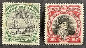 Cook Islands #85 MH VF/XF (1932) + #91 MH F/VF (1933-36) - SCV ~ $8.95 [R778]