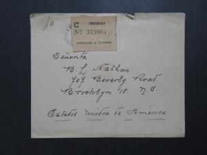 Uruguay 1955 Stampless Cover to USA w/ Foreign Registered Label - Z8124