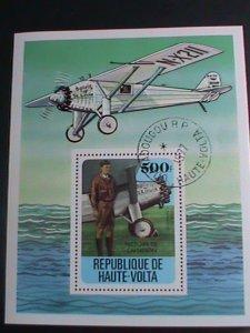 Upper Volta Stamp-1977 Spirit of St. Louis- Charles Lindbergh CTO-S/S sheet