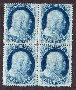 US 24 1c Franklin Mint Block of 4 F-VF OG H SCV $800
