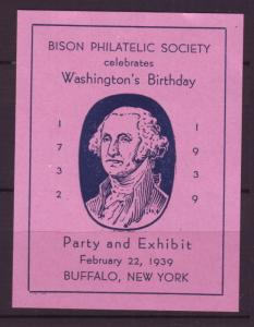 J18507 JLstamps cinderella-poster 1939 mnh bison exib buffalo ny mnh washington