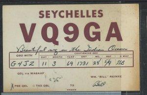 SEYCHELLES  COVER (P1002B) 1969 HAM RADIO CARD FROM SEYCHELLES