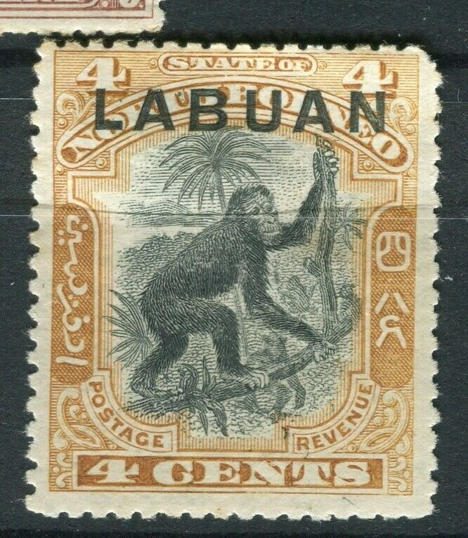 NORTH BORNEO LABUAN; 1890s classic Pictorial issue Mint hinged 4c. value