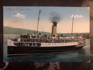 1942 Saturna Canada Postcard Cover CPR Ss Princess Alice Ship To Vancouver