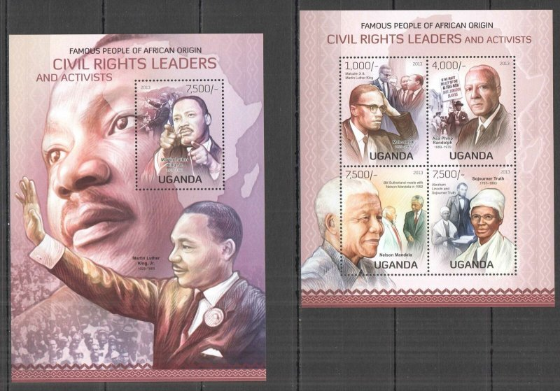 UG075 2013 UGANDA CIVIL RIGHTS LEADERS OF AFRICAN ORIGIN #3070-3+BL427 MNH