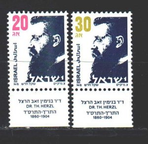 Israel. 1986. 1022u-23u. Herzl, founder of the world Zionist organization. MNH.