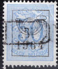 Belgium; 1951: Sc. # 414; O/Used Ultra PreCancel Single Stamp