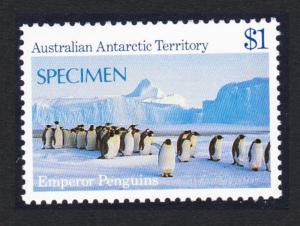 Australian Ant. Terr. Birds Emperor Penguins $1 SPECIMEN SG#77 SC#L74
