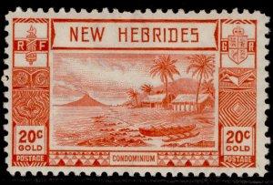 NEW HEBRIDES GVI SG55, 20c scarlet, M MINT.