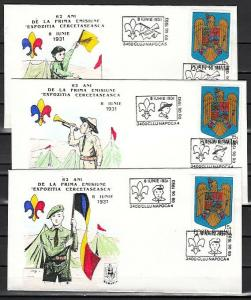 Romania, 1993 issue. 08-09/JUN/93. Scouts 62nd Anniv. Cancels on Cachet Covers.^