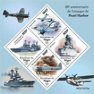 2021/06- NIGER -  PEARL HARBOR          4V    MNH **